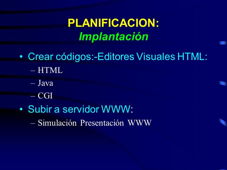 PLANIFICACION: Implantación Crear códigos:-Editores Visuales HTML: –HTML –Java –CGI Subir a servidor WWW: –Simulación Presentación WWW