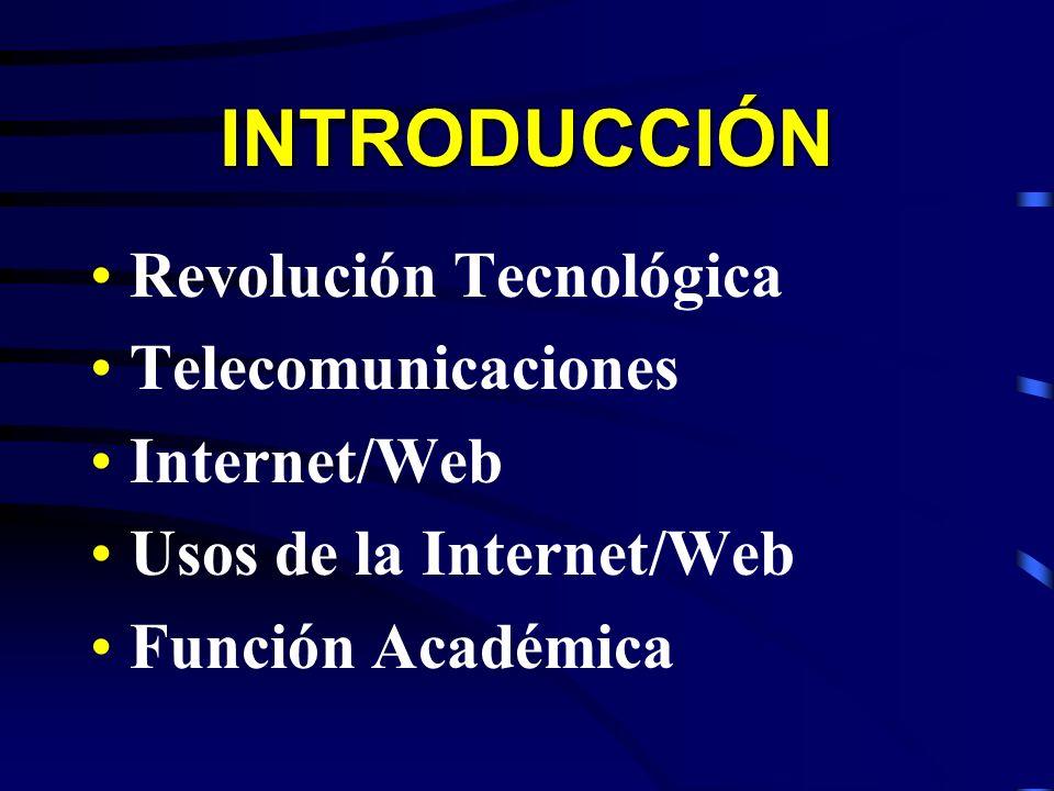 INTRODUCCIÓN Revolución Tecnológica Telecomunicaciones Internet/Web Usos de la Internet/Web Función Académica