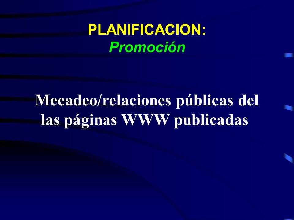 PLANIFICACION: Promoción Mecadeo/relaciones públicas del las páginas WWW publicadas