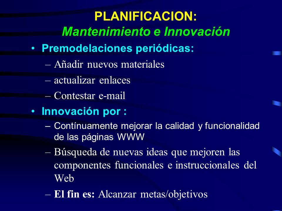 PLANIFICACION: Mantenimiento e Innovación Premodelaciones periódicas: –Añadir nuevos materiales –actualizar enlaces –Contestar e-mail Innovación por :