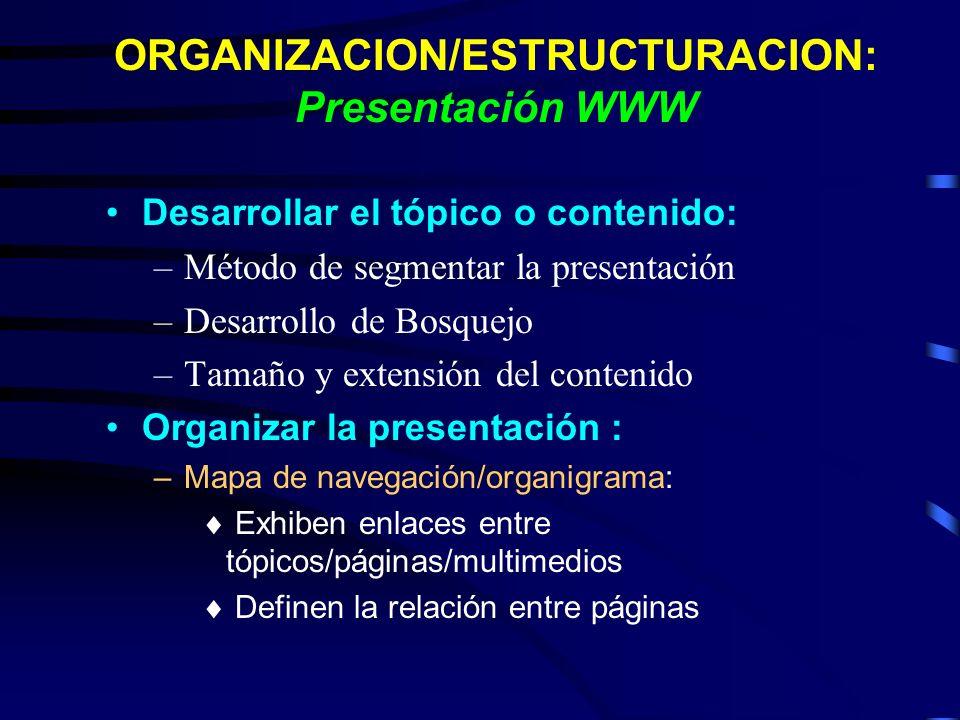 ORGANIZACION/ESTRUCTURACION: Presentación WWW Desarrollar el tópico o contenido: –Método de segmentar la presentación –Desarrollo de Bosquejo –Tamaño
