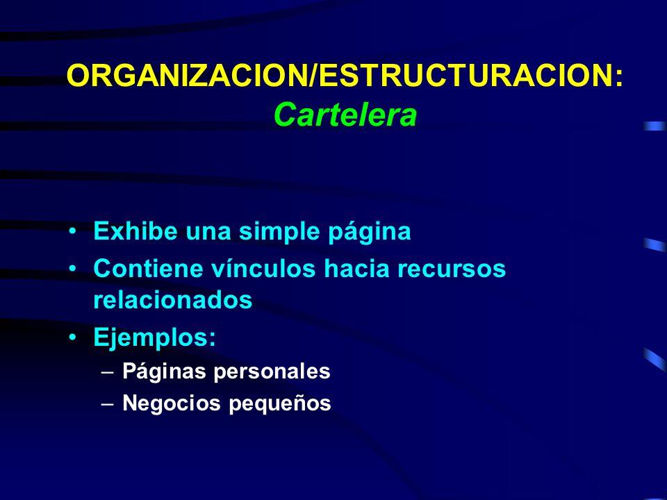 ORGANIZACION/ESTRUCTURACION: Cartelera Exhibe una simple página Contiene vínculos hacia recursos relacionados Ejemplos: –Páginas personales –Negocios