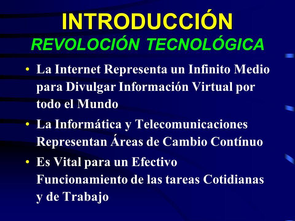 INTRODUCCIÓN INTRODUCCIÓN REVOLOCIÓN TECNOLÓGICA La Internet Representa un Infinito Medio para Divulgar Información Virtual por todo el Mundo La Infor