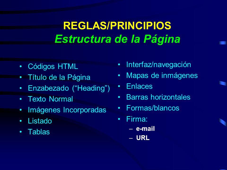 REGLAS/PRINCIPIOS Estructura de la Página Códigos HTML Título de la Página Enzabezado (Heading) Texto Normal Imágenes Incorporadas Listado Tablas Inte