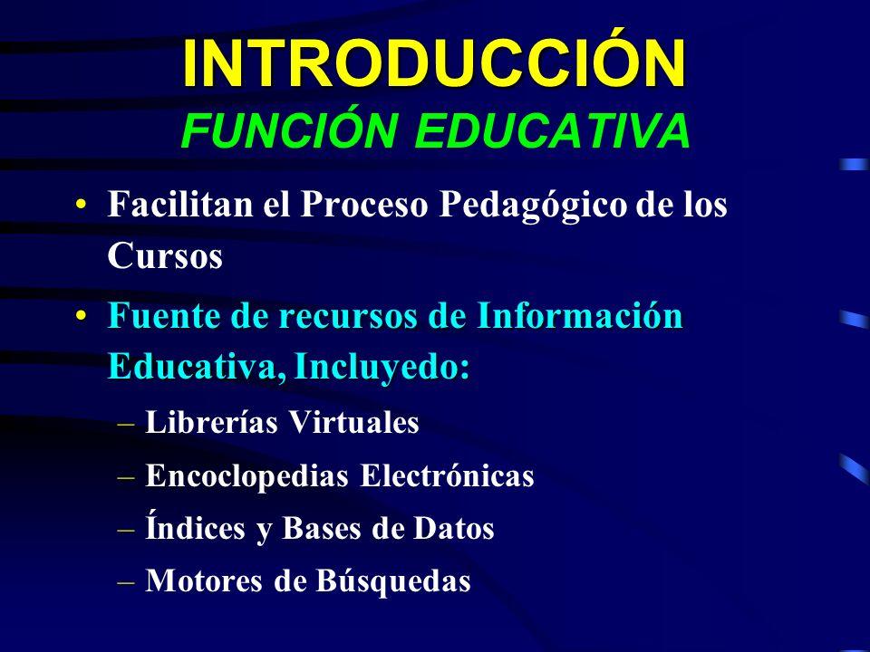 INTRODUCCIÓN INTRODUCCIÓN FUNCIÓN EDUCATIVA Facilitan el Proceso Pedagógico de los Cursos Fuente de recursos de Información Educativa, Incluyedo:Fuent