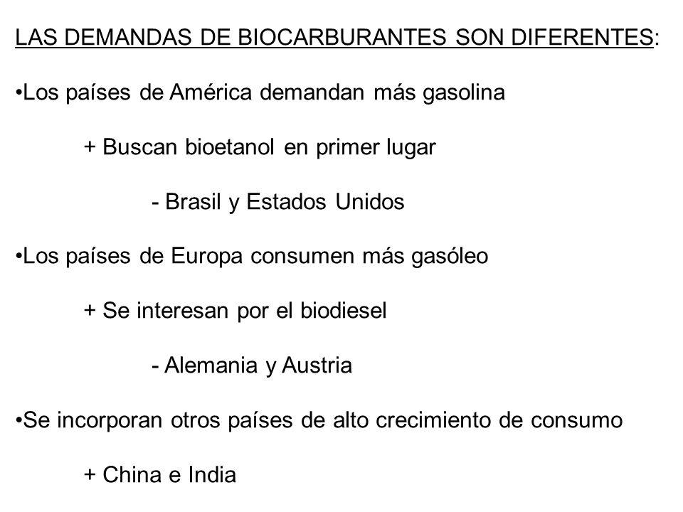 Primeras previsiones al año 2030 Consumo mundial: 92,4 millones de tep de biocarburantes Primeras previsiones al año 2030 Consumo mundial: 92,4 millones de tep de biocarburantes En la actualidad se puede sugerir para el año 2030: El consumo mundial de biocarburantes puede ser 300 millones de tep La Unión Europea consumirá en torno al 15% de ese total Estados Unidos puede consumir el 20% de la producción mundial América Latina consumirá posiblemente la cuarta parte de su propia producción, la cual alcanzará los 150 millones de tep La producción de biocarburantes de segunda generación se acercará a los 100 millones de tep En la actualidad se puede sugerir para el año 2030: El consumo mundial de biocarburantes puede ser 300 millones de tep La Unión Europea consumirá en torno al 15% de ese total Estados Unidos puede consumir el 20% de la producción mundial América Latina consumirá posiblemente la cuarta parte de su propia producción, la cual alcanzará los 150 millones de tep La producción de biocarburantes de segunda generación se acercará a los 100 millones de tep