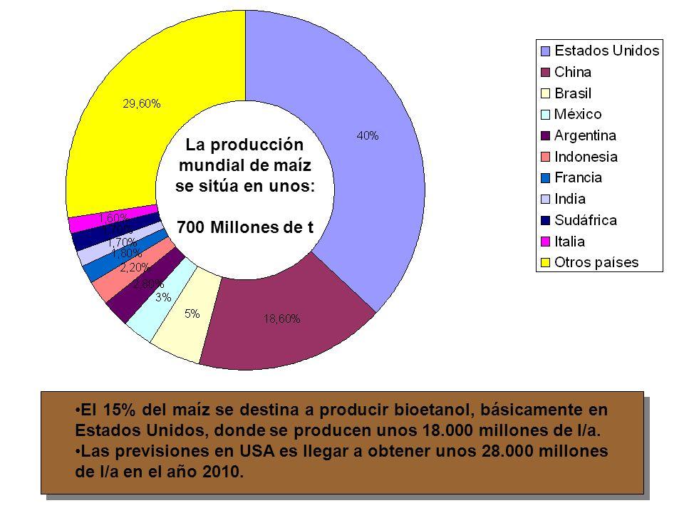 Producción mundial Millones de toneladas 600 400 200 China India Iberoamérica África Subsahariana Resto del Mundo África Subsahariana Iberoamérica India China Maíz Arroz Trigo La superficie cultivada para obtener estos tres cereales es de 500 millones de Ha.