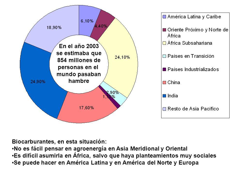 Maíz Trigo Arroz 200 400 600 Año 2006 2007 2008 Dólares por tonelada La subida de los precios no se debe, ni mucho menos, sólo a la creciente producción de biocarburantes.