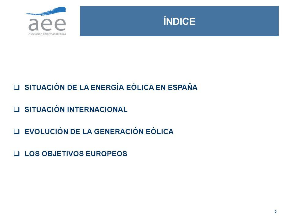 2 SITUACIÓN DE LA ENERGÍA EÓLICA EN ESPAÑA SITUACIÓN INTERNACIONAL EVOLUCIÓN DE LA GENERACIÓN EÓLICA LOS OBJETIVOS EUROPEOS ÍNDICE