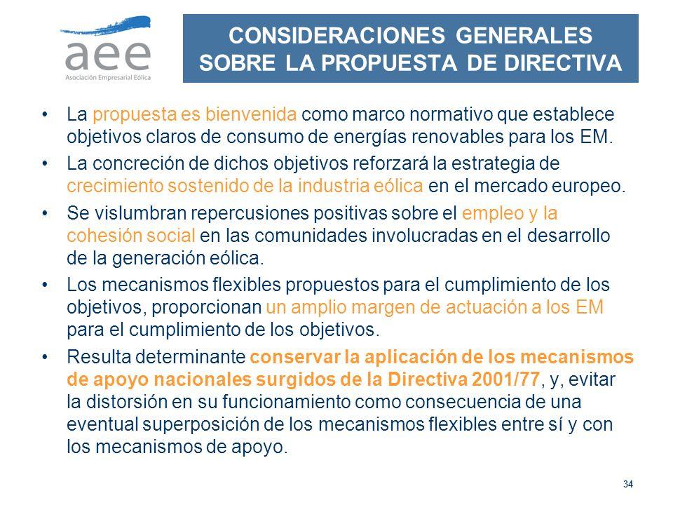 34 CONSIDERACIONES GENERALES SOBRE LA PROPUESTA DE DIRECTIVA La propuesta es bienvenida como marco normativo que establece objetivos claros de consumo de energías renovables para los EM.