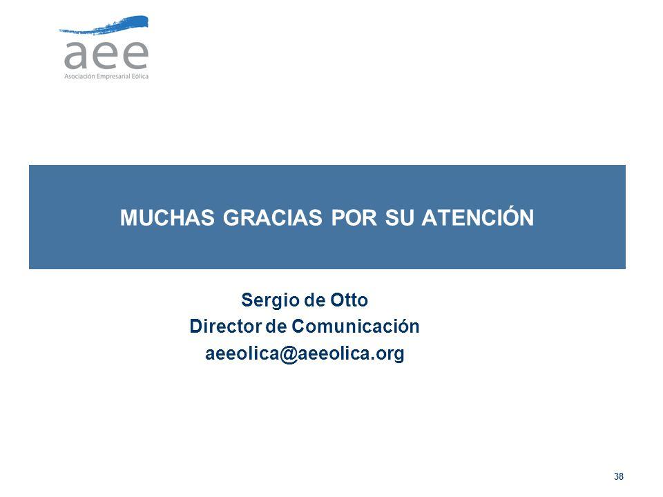 38 MUCHAS GRACIAS POR SU ATENCIÓN Sergio de Otto Director de Comunicación aeeolica@aeeolica.org