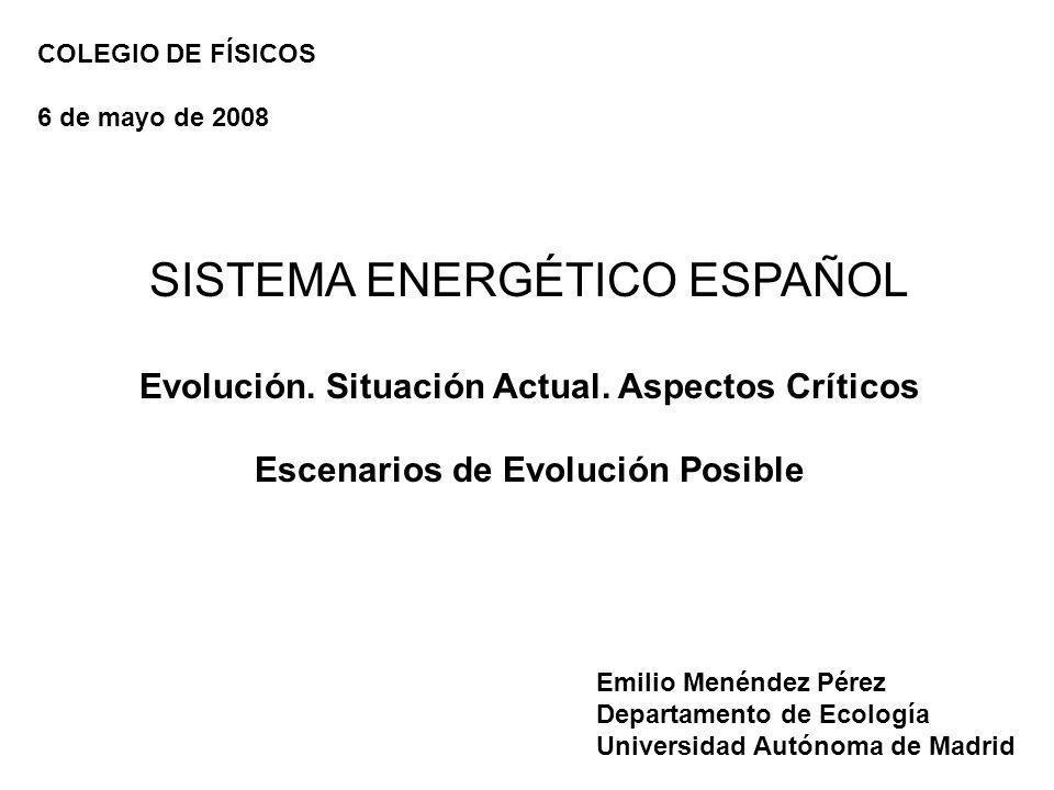 SISTEMA ENERGÉTICO ESPAÑOL Evolución. Situación Actual. Aspectos Críticos Escenarios de Evolución Posible Emilio Menéndez Pérez Departamento de Ecolog