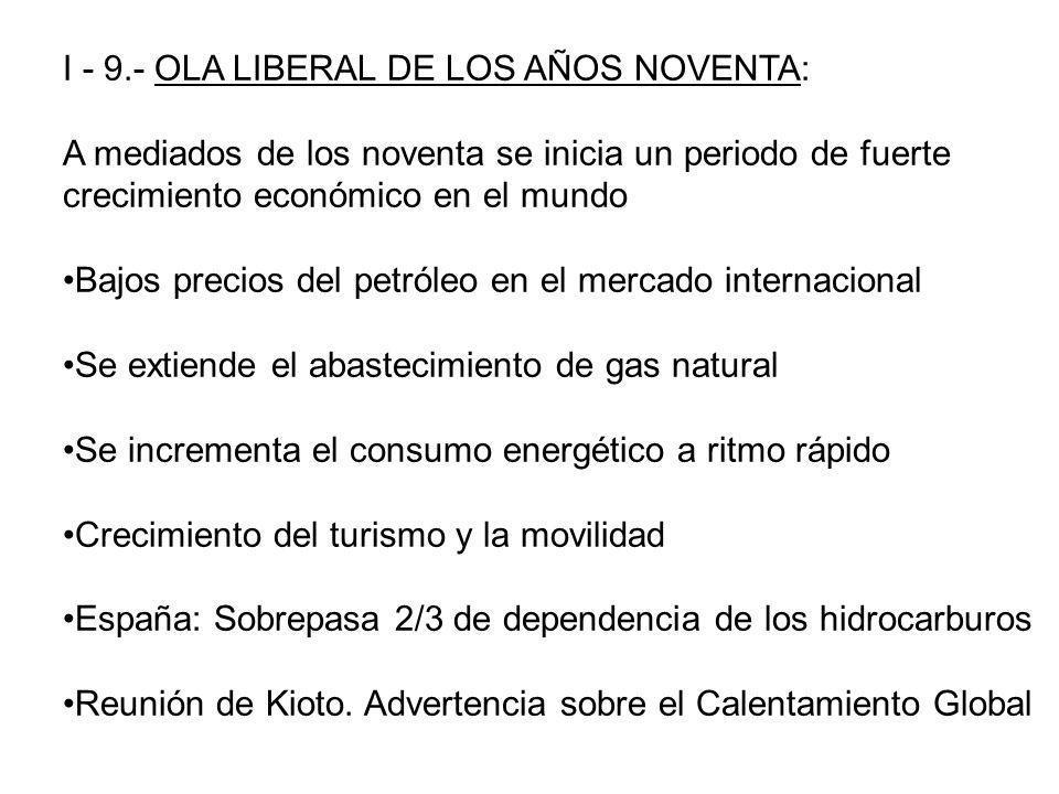 I - 9.- OLA LIBERAL DE LOS AÑOS NOVENTA: A mediados de los noventa se inicia un periodo de fuerte crecimiento económico en el mundo Bajos precios del