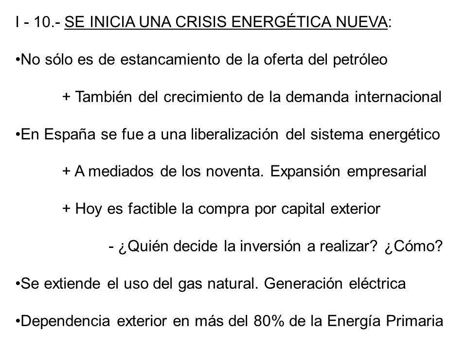 I - 10.- SE INICIA UNA CRISIS ENERGÉTICA NUEVA: No sólo es de estancamiento de la oferta del petróleo + También del crecimiento de la demanda internac