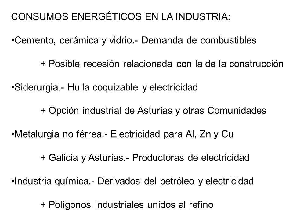 CONSUMOS ENERGÉTICOS EN LA INDUSTRIA: Cemento, cerámica y vidrio.- Demanda de combustibles + Posible recesión relacionada con la de la construcción Si
