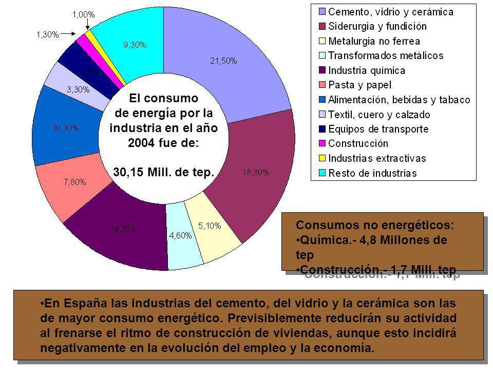 El consumo de energía por la industria en el año 2004 fue de: 30,15 Mill. de tep. Consumos no energéticos: Química.- 4,8 Millones de tep Construcción.