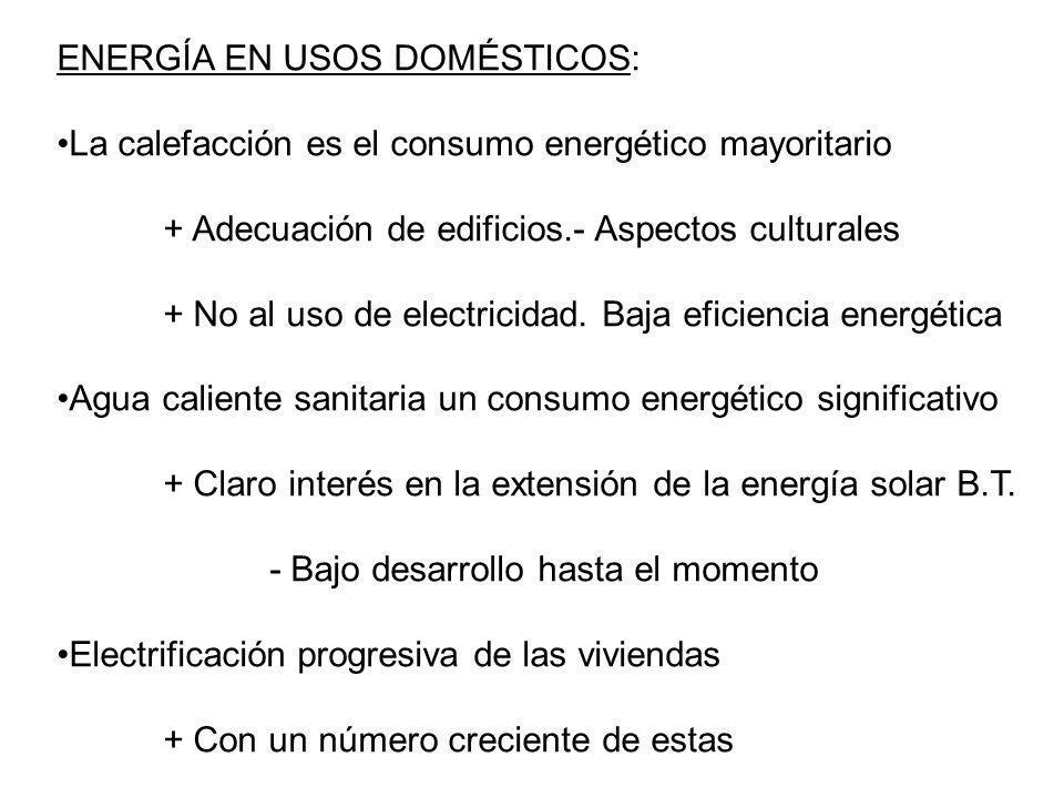 ENERGÍA EN USOS DOMÉSTICOS: La calefacción es el consumo energético mayoritario + Adecuación de edificios.- Aspectos culturales + No al uso de electri