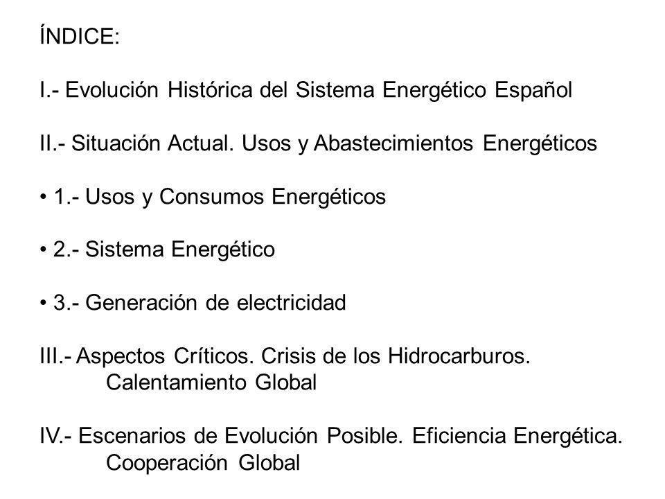 II - 3.- GENERACIÓN DE ELECTRICIDAD: El carbón y el gas natural suponen la mitad de la generación + Carbón, seguridad suministro.- 1.000 gr CO 2 /kWh + Gas natural, incertidumbre.- 350 gr CO 2 /kWh Energía nuclear.- Preocupación social periódica Energía hidráulica, depende de las lluvias y nieves anuales Energía eólica, en crecimiento.