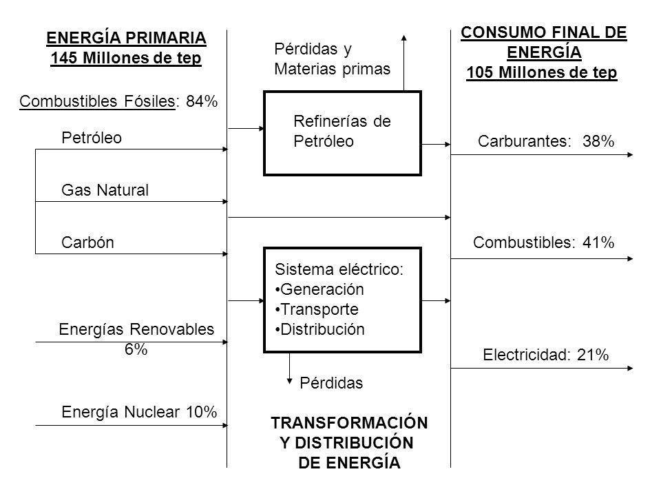 ENERGÍA PRIMARIA 145 Millones de tep CONSUMO FINAL DE ENERGÍA 105 Millones de tep Petróleo Gas Natural Carbón Energías Renovables 6% Energía Nuclear 1