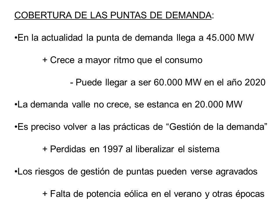 COBERTURA DE LAS PUNTAS DE DEMANDA: En la actualidad la punta de demanda llega a 45.000 MW + Crece a mayor ritmo que el consumo - Puede llegar a ser 6