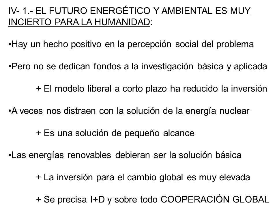 IV- 1.- EL FUTURO ENERGÉTICO Y AMBIENTAL ES MUY INCIERTO PARA LA HUMANIDAD: Hay un hecho positivo en la percepción social del problema Pero no se dedi