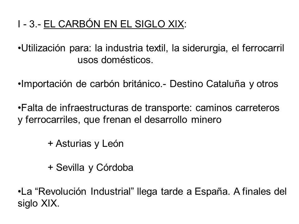I - 3.- EL CARBÓN EN EL SIGLO XIX: Utilización para: la industria textil, la siderurgia, el ferrocarril usos domésticos. Importación de carbón británi