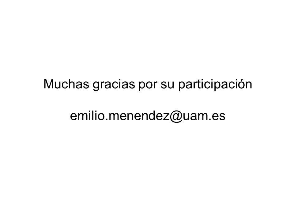 Muchas gracias por su participación emilio.menendez@uam.es