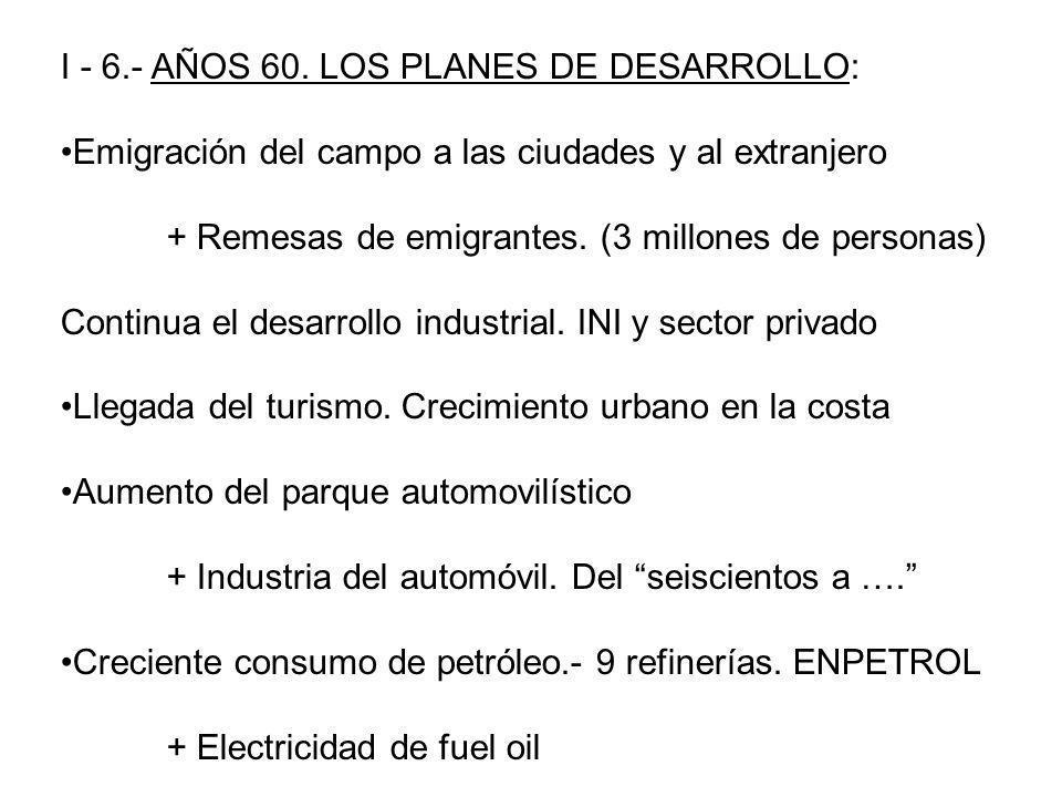 I - 6.- AÑOS 60. LOS PLANES DE DESARROLLO: Emigración del campo a las ciudades y al extranjero + Remesas de emigrantes. (3 millones de personas) Conti