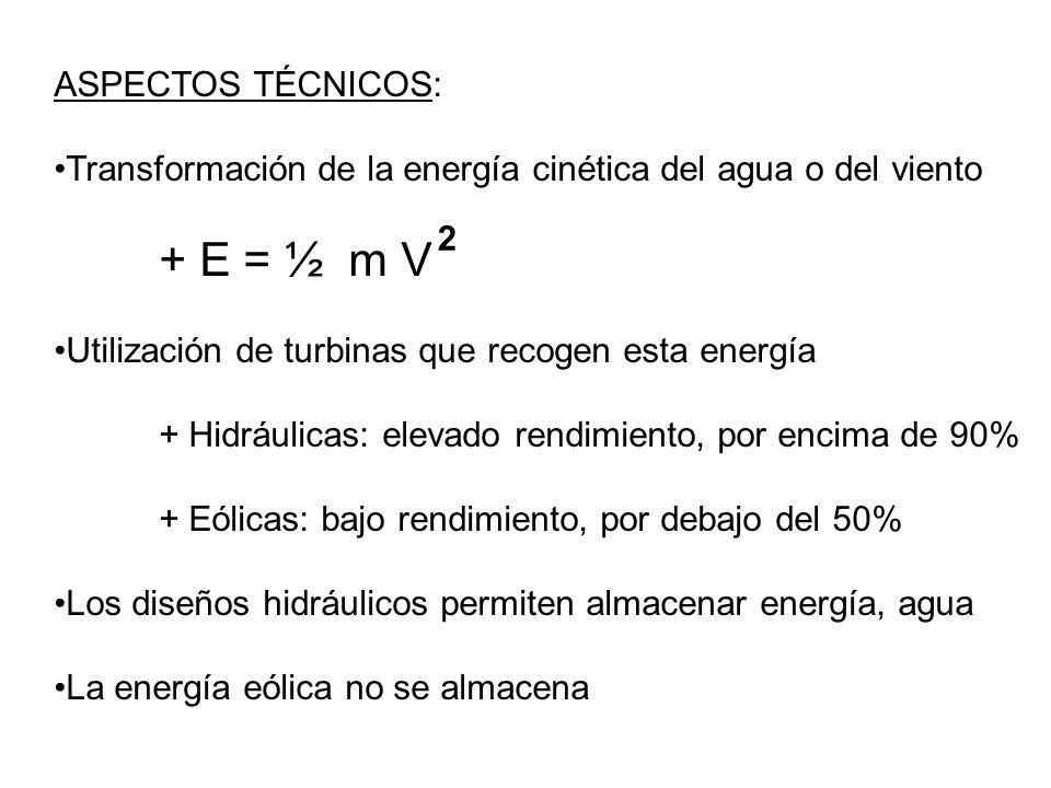 ASPECTOS TÉCNICOS: Transformación de la energía cinética del agua o del viento + E = ½ m V Utilización de turbinas que recogen esta energía + Hidráuli