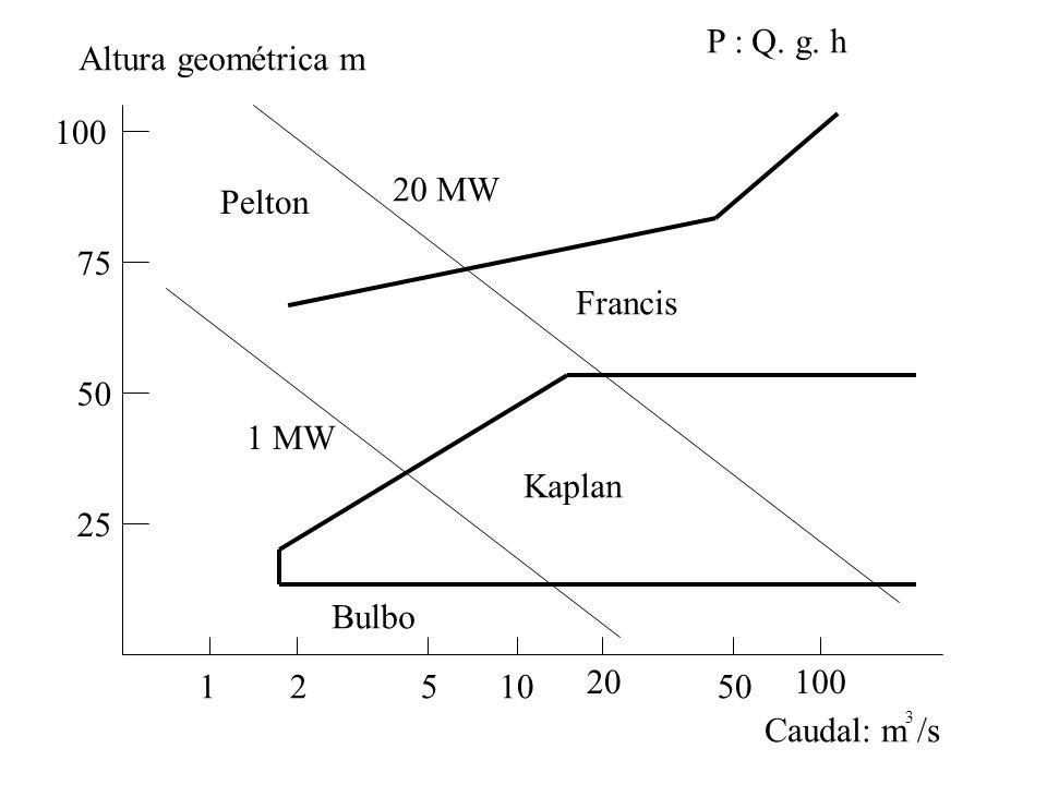 50 100 25 75 Altura geométrica m Caudal: m /s 3 12510 20 50 100 Pelton Francis Kaplan Bulbo 20 MW 1 MW P : Q. g. h