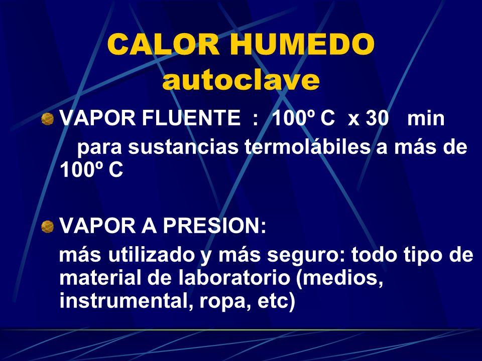 CALOR HUMEDO autoclave VAPOR FLUENTE : 100º C x 30 min para sustancias termolábiles a más de 100º C VAPOR A PRESION: más utilizado y más seguro: todo