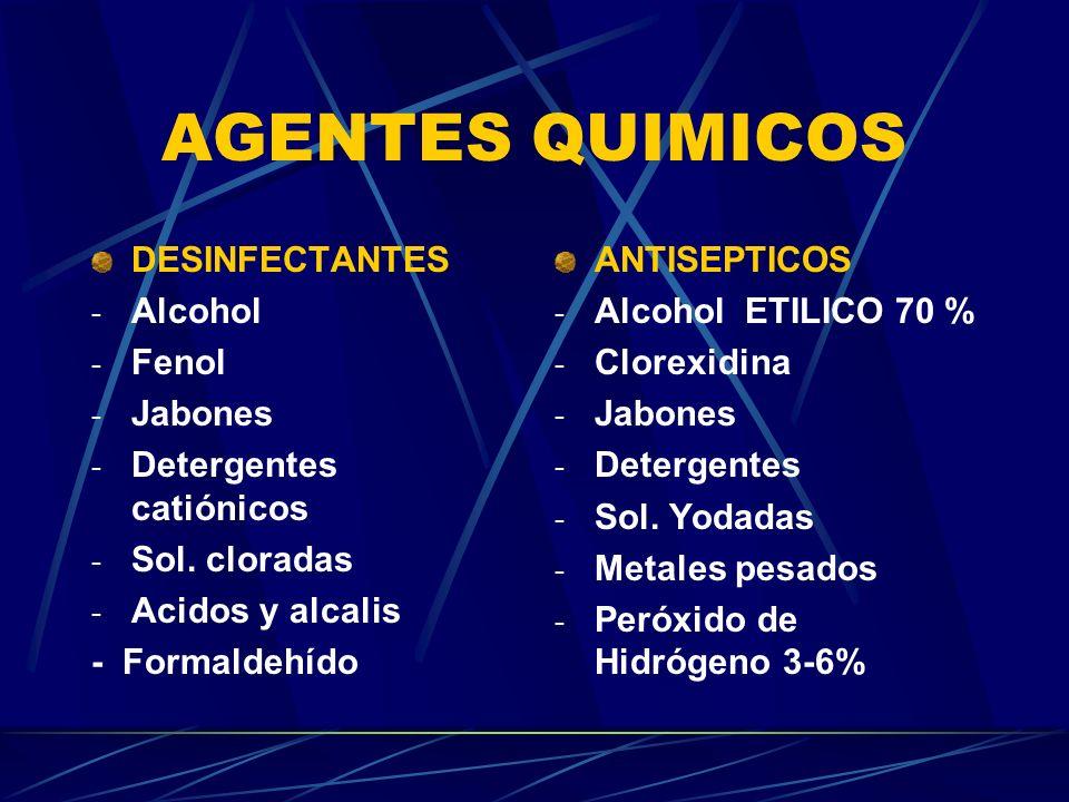 AGENTES QUIMICOS DESINFECTANTES - Alcohol - Fenol - Jabones - Detergentes catiónicos - Sol. cloradas - Acidos y alcalis - Formaldehído ANTISEPTICOS -
