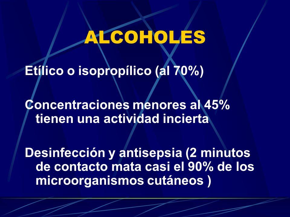 ALCOHOLES Etílico o isopropílico (al 70%) Concentraciones menores al 45% tienen una actividad incierta Desinfección y antisepsia (2 minutos de contact
