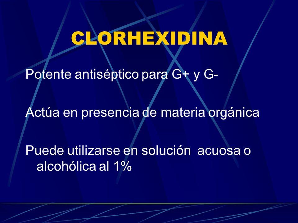 CLORHEXIDINA Potente antiséptico para G+ y G- Actúa en presencia de materia orgánica Puede utilizarse en solución acuosa o alcohólica al 1%