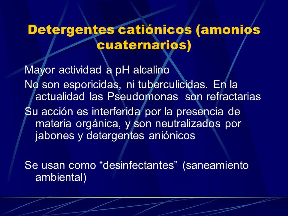 Detergentes catiónicos (amonios cuaternarios) Mayor actividad a pH alcalino No son esporicidas, ni tuberculicidas. En la actualidad las Pseudomonas so