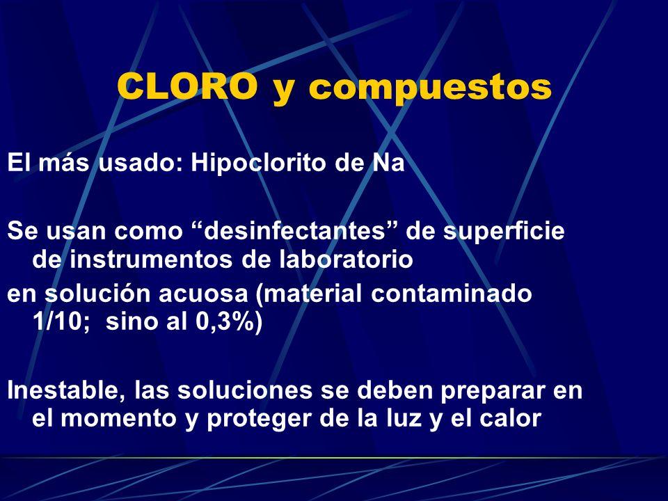 CLORO y compuestos El más usado: Hipoclorito de Na Se usan como desinfectantes de superficie de instrumentos de laboratorio en solución acuosa (materi