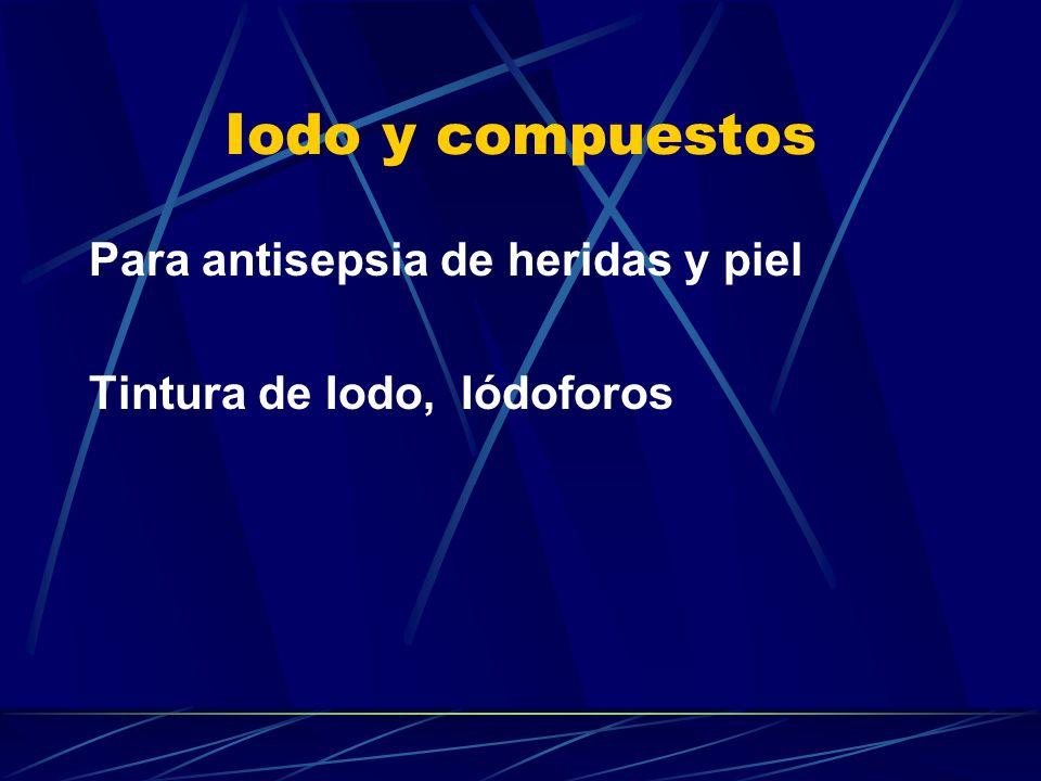 Iodo y compuestos Para antisepsia de heridas y piel Tintura de Iodo, Iódoforos