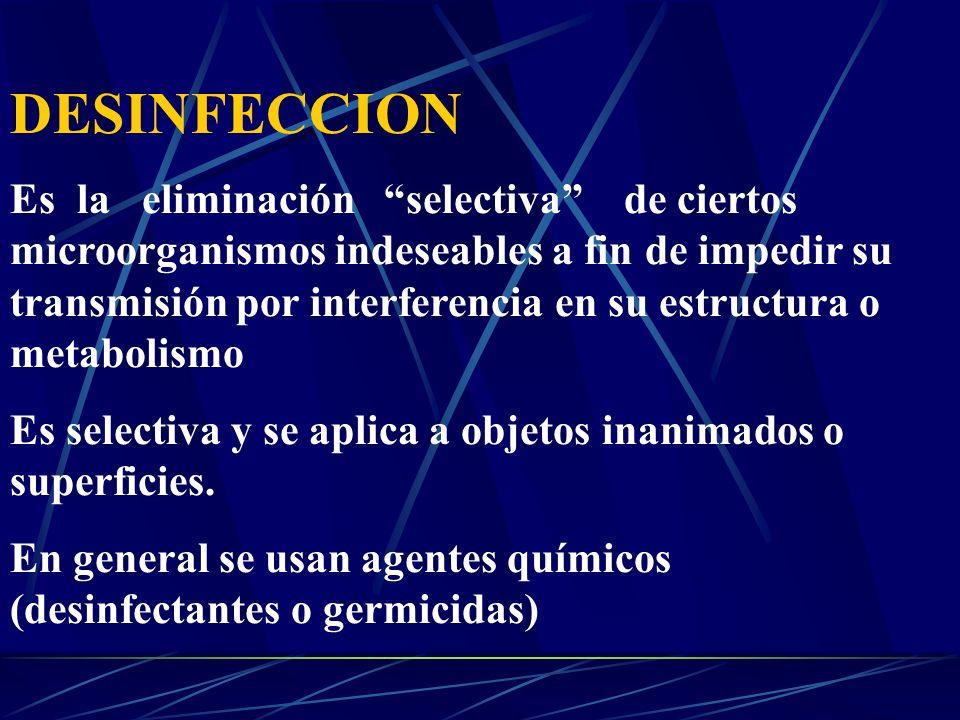 DESINFECCION Es la eliminación selectiva de ciertos microorganismos indeseables a fin de impedir su transmisión por interferencia en su estructura o m