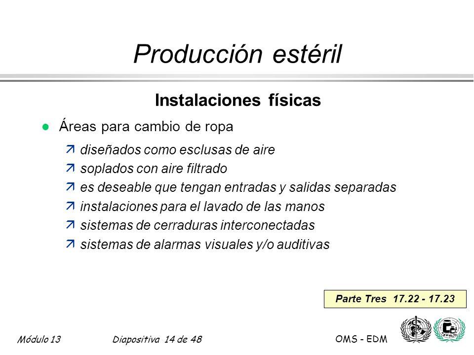 Módulo 13Diapositiva 14 de 48 OMS - EDM Parte Tres 17.22 - 17.23 Producción estéril Instalaciones físicas l Áreas para cambio de ropa ädiseñados como