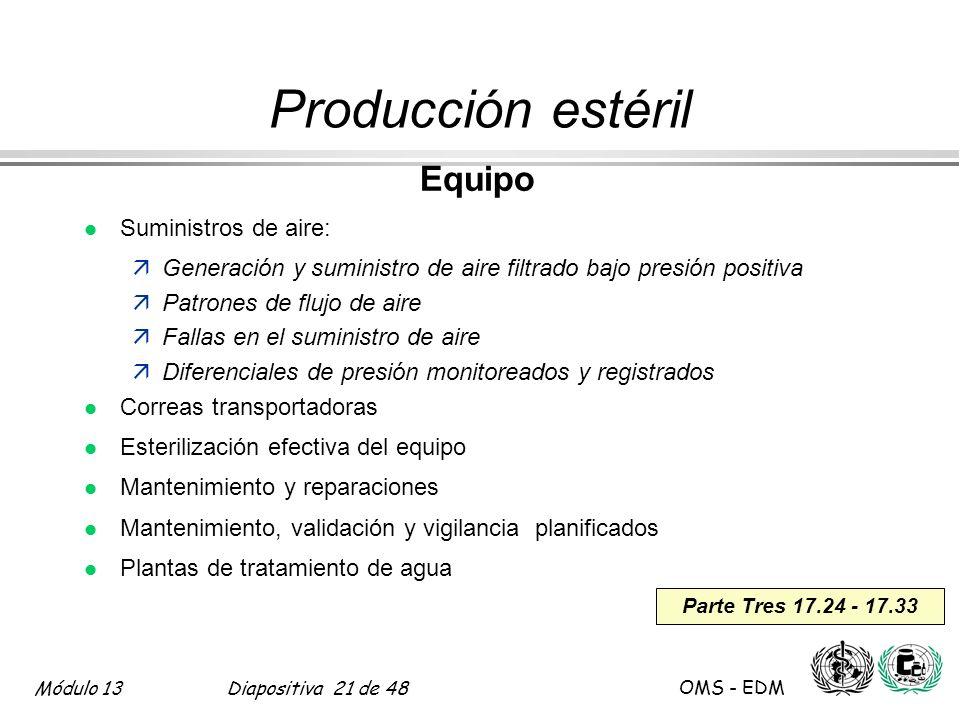 Módulo 13Diapositiva 21 de 48 OMS - EDM Parte Tres 17.24 - 17.33 Producción estéril Equipo l Suministros de aire: äGeneración y suministro de aire fil