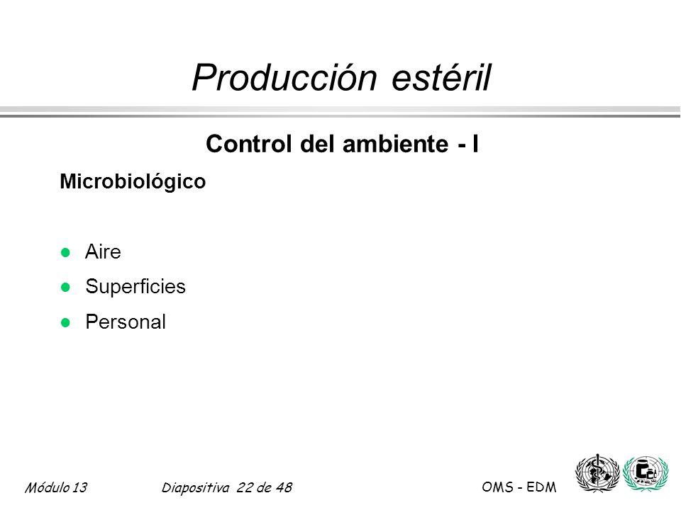 Módulo 13Diapositiva 22 de 48 OMS - EDM Producción estéril Control del ambiente - I Microbiológico l Aire l Superficies l Personal