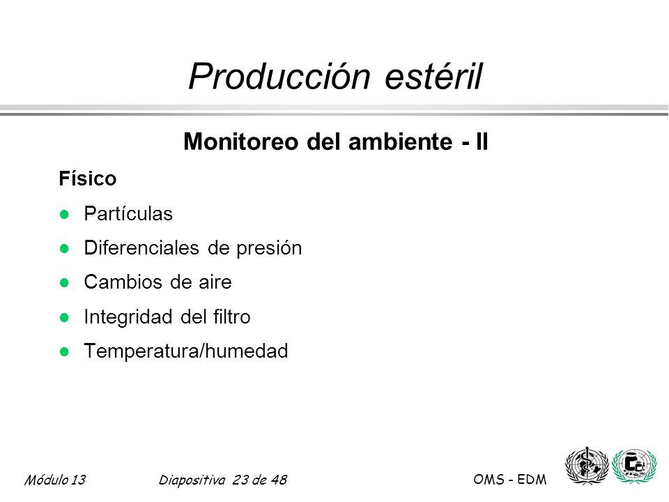 Módulo 13Diapositiva 23 de 48 OMS - EDM Producción estéril Monitoreo del ambiente - II Físico l Partículas l Diferenciales de presión l Cambios de air