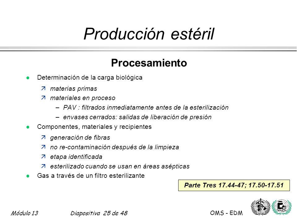 Módulo 13Diapositiva 25 de 48 OMS - EDM Parte Tres 17.44-47; 17.50-17.51 Producción estéril Procesamiento l Determinación de la carga biológica ämater