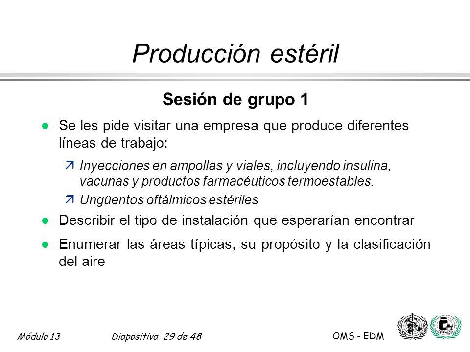 Módulo 13Diapositiva 29 de 48 OMS - EDM Producción estéril Sesión de grupo 1 l Se les pide visitar una empresa que produce diferentes líneas de trabaj