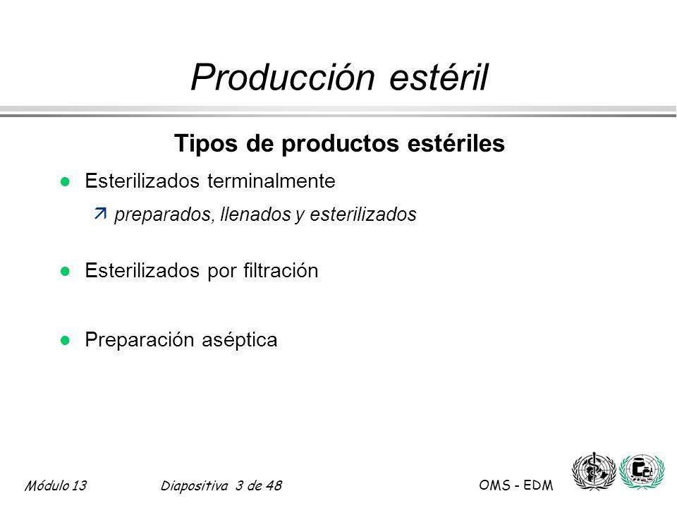 Módulo 13Diapositiva 4 de 48 OMS - EDM Producción estéril Requerimientos de BPM para productos estériles l Adicional más que reemplazo l Puntos específicos relacionados con la disminución de los riesgos de contaminación ämicrobiológica ämaterial particulado äpirógenos
