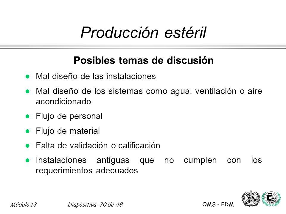 Módulo 13Diapositiva 30 de 48 OMS - EDM Producción estéril Posibles temas de discusión l Mal diseño de las instalaciones l Mal diseño de los sistemas