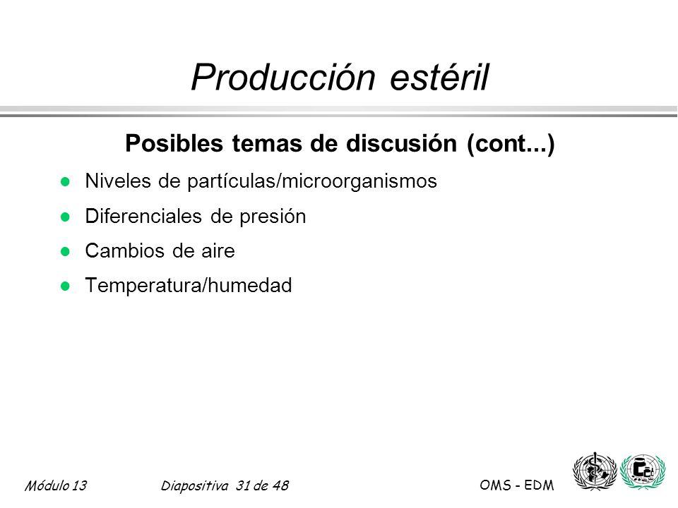 Módulo 13Diapositiva 31 de 48 OMS - EDM Producción estéril Posibles temas de discusión (cont...) l Niveles de partículas/microorganismos l Diferencial