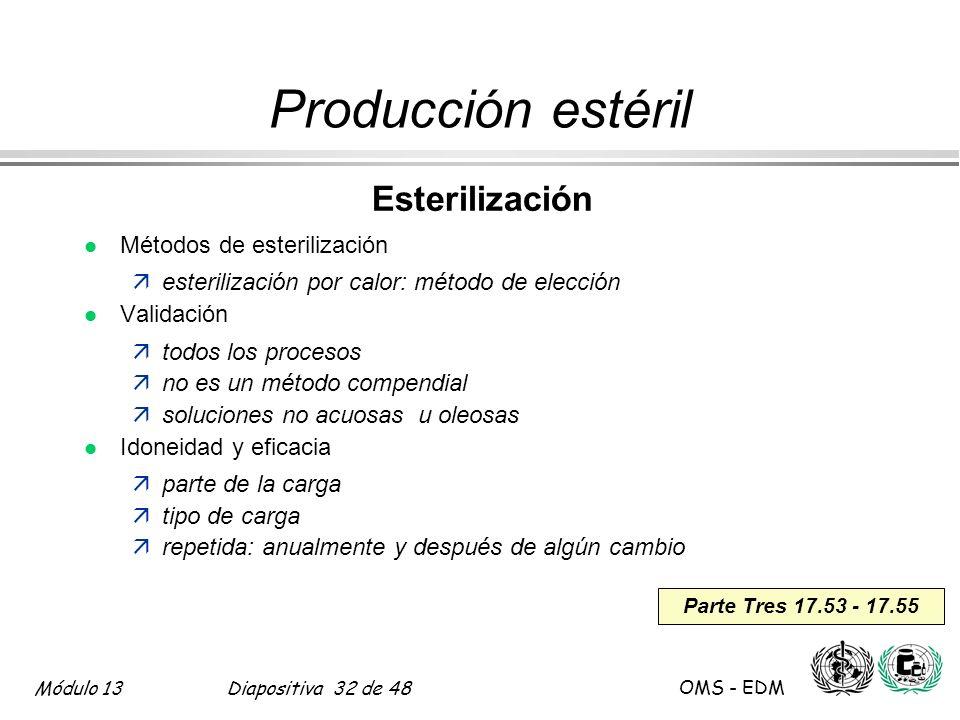 Módulo 13Diapositiva 32 de 48 OMS - EDM Parte Tres 17.53 - 17.55 Producción estéril Esterilización l Métodos de esterilización äesterilización por cal
