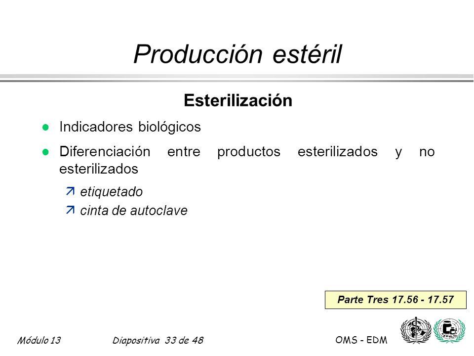 Módulo 13Diapositiva 33 de 48 OMS - EDM Parte Tres 17.56 - 17.57 Producción estéril Esterilización l Indicadores biológicos l Diferenciación entre pro