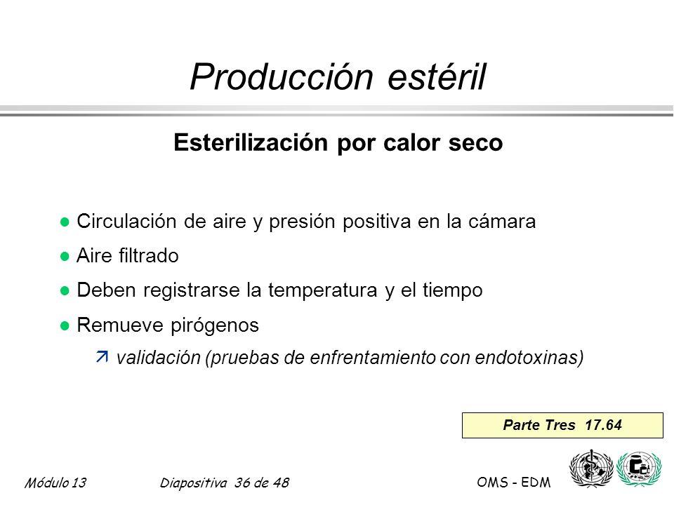 Módulo 13Diapositiva 36 de 48 OMS - EDM Parte Tres 17.64 Producción estéril Esterilización por calor seco l Circulación de aire y presión positiva en
